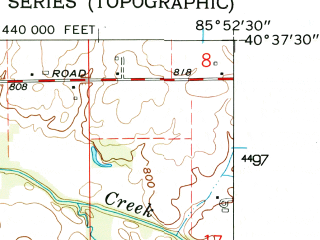 Reduced fragment of topographic map en--usgs--024k--000834--(1962)--N040-37-30_W086-00-00--N040-30-00_W085-52-30; towns and cities Amboy, Converse