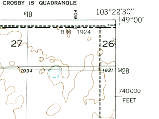 Reduced fragment of topographic map en--usgs--024k--000842--(1948)--N049-00-00_W103-30-00--N048-52-30_W103-22-30; towns and cities Ambrose