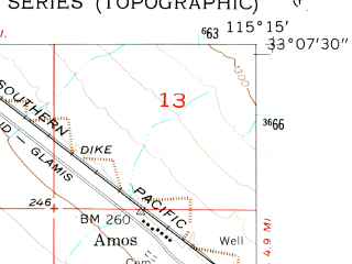 Reduced fragment of topographic map en--usgs--024k--000902--(1956)--N033-07-30_W115-22-30--N033-00-00_W115-15-00