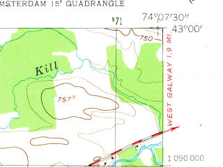 Reduced fragment of topographic map en--usgs--024k--000906--(1954)--N043-00-00_W074-15-00--N042-52-30_W074-07-30; towns and cities Amsterdam, Fort Johnson, Hagaman
