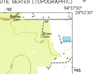 Reduced fragment of topographic map en--usgs--024k--000924--(1961)--N029-52-30_W094-45-00--N029-45-00_W094-37-30 in area of Lake Anahuac; towns and cities Anahuac