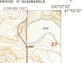Reduced fragment of topographic map en--usgs--024k--000926--(1951)--N047-52-30_W100-15-00--N047-45-00_W100-07-30