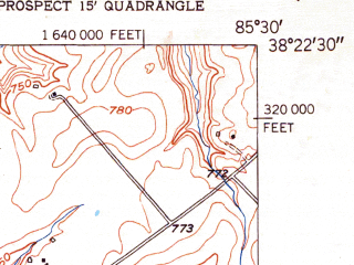 Reduced fragment of topographic map en--usgs--024k--000936--(1951)--N038-22-30_W085-37-30--N038-15-00_W085-30-00; towns and cities Lyndon, Anchorage, Westwood, Green Spring