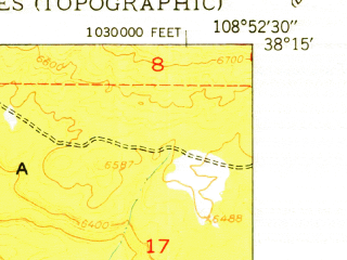 Reduced fragment of topographic map en--usgs--024k--000980--(1950)--N038-15-00_W109-00-00--N038-07-30_W108-52-30