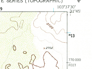 Reduced fragment of topographic map en--usgs--024k--000985--(1961)--N031-45-00_W103-45-00--N031-37-30_W103-37-30