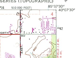 Reduced fragment of topographic map en--usgs--024k--000990--(1961)--N040-07-30_W085-45-00--N040-00-00_W085-37-30; towns and cities Anderson, Country Club Heights, Edgewood, River Forest