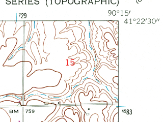 Reduced fragment of topographic map en--usgs--024k--000998--(1953)--N041-22-30_W090-22-30--N041-15-00_W090-15-00; towns and cities Andover, Orion