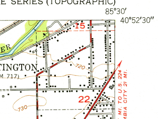 Reduced fragment of topographic map en--usgs--024k--001012--(1951)--N040-52-30_W085-37-30--N040-45-00_W085-30-00; towns and cities Andrews