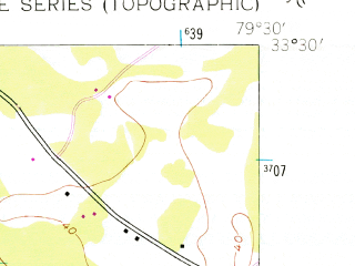 Reduced fragment of topographic map en--usgs--024k--001015--(1943)--N033-30-00_W079-37-30--N033-22-30_W079-30-00; towns and cities Andrews