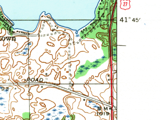 Reduced fragment of topographic map en--usgs--024k--001045--(1942)--N041-45-00_W085-07-30--N041-37-30_W085-00-00 in area of Lake James