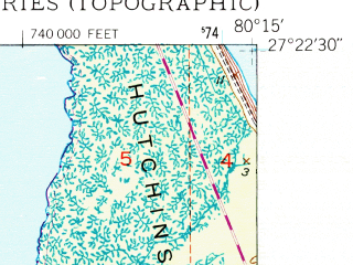 Reduced fragment of topographic map en--usgs--024k--001061--(1948)--N027-22-30_W080-22-30--N027-15-00_W080-15-00; towns and cities Port St. Lucie