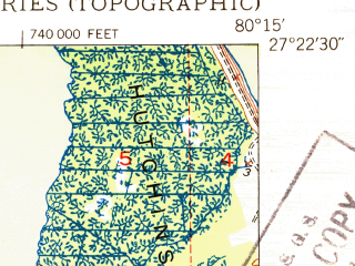 Reduced fragment of topographic map en--usgs--024k--001061--(1950)--N027-22-30_W080-22-30--N027-15-00_W080-15-00; towns and cities Port St. Lucie