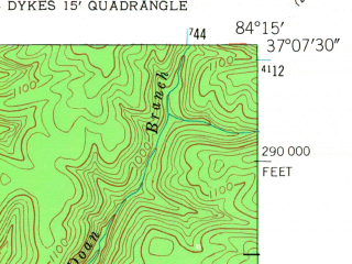 Reduced fragment of topographic map en--usgs--024k--001085--(1952)--N037-07-30_W084-22-30--N037-00-00_W084-15-00