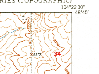 Reduced fragment of topographic map en--usgs--024k--001107--(1949)--N048-45-00_W104-30-00--N048-37-30_W104-22-30