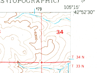 Reduced fragment of topographic map en--usgs--024k--001116--(1949)--N042-52-30_W105-22-30--N042-45-00_W105-15-00