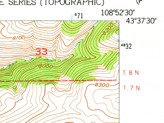 Reduced fragment of topographic map en--usgs--024k--001167--(1952)--N043-37-30_W109-00-00--N043-30-00_W108-52-30