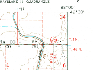 Reduced fragment of topographic map en--usgs--024k--001200--(1960)--N042-30-00_W088-07-30--N042-22-30_W088-00-00; towns and cities Round Lake Beach, Antioch, Lindenhurst, Round Lake Heights, Venetian Village