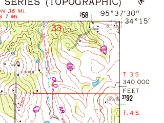 Reduced fragment of topographic map en--usgs--024k--001209--(1961)--N034-15-00_W095-45-00--N034-07-30_W095-37-30