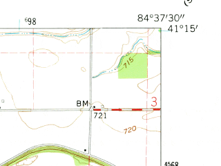 Reduced fragment of topographic map en--usgs--024k--001224--(1960)--N041-15-00_W084-45-00--N041-07-30_W084-37-30; towns and cities Antwerp