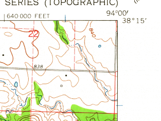 Reduced fragment of topographic map en--usgs--024k--001280--(1961)--N038-15-00_W094-07-30--N038-07-30_W094-00-00; towns and cities Appleton City