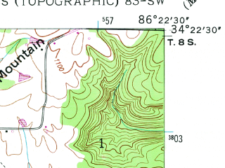 Reduced fragment of topographic map en--usgs--024k--001286--(1948)--N034-22-30_W086-30-00--N034-15-00_W086-22-30; towns and cities Arab