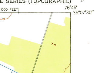 Reduced fragment of topographic map en--usgs--024k--001304--(1951)--N035-07-30_W076-52-30--N035-00-00_W076-45-00; towns and cities Arapahoe