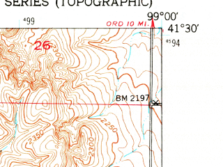 Reduced fragment of topographic map en--usgs--024k--001333--(1951)--N041-30-00_W099-07-30--N041-22-30_W099-00-00