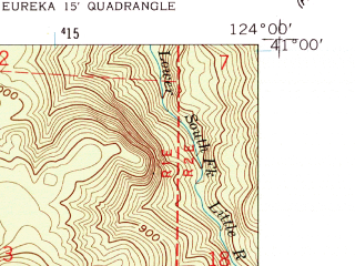 Reduced fragment of topographic map en--usgs--024k--001339--(1959)--N041-00-00_W124-07-30--N040-52-30_W124-00-00; towns and cities Mckinleyville