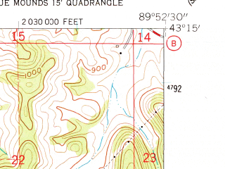 Reduced fragment of topographic map en--usgs--024k--001382--(1962)--N043-15-00_W090-00-00--N043-07-30_W089-52-30; towns and cities Arena
