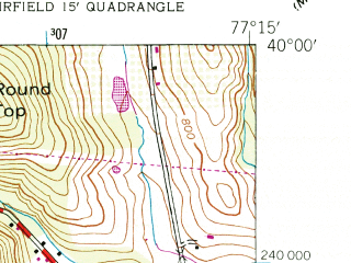 Reduced fragment of topographic map en--usgs--024k--001384--(1944)--N040-00-00_W077-22-30--N039-52-30_W077-15-00; towns and cities Arendtsville