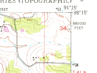 Reduced fragment of topographic map en--usgs--024k--001392--(1948)--N038-15-00_W091-22-30--N038-07-30_W091-15-00