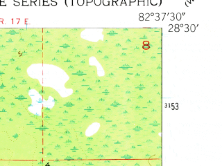 Reduced fragment of topographic map en--usgs--024k--001414--(1954)--N028-30-00_W082-45-00--N028-22-30_W082-37-30; towns and cities Hernando Beach