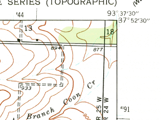 Reduced fragment of topographic map en--usgs--024k--001497--(1939)--N037-52-30_W093-45-00--N037-45-00_W093-37-30