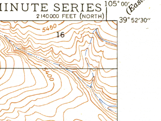 Reduced fragment of topographic map en--usgs--024k--001593--(1950)--N039-52-30_W105-07-30--N039-45-00_W105-00-00; towns and cities Arvada, Wheat Ridge, Sherrelwood, Westminster East, Federal Heights