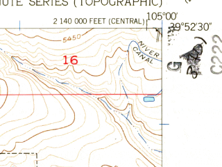 Reduced fragment of topographic map en--usgs--024k--001593--(1957)--N039-52-30_W105-07-30--N039-45-00_W105-00-00; towns and cities Arvada, Wheat Ridge, Sherrelwood, Federal Heights, Westminster East