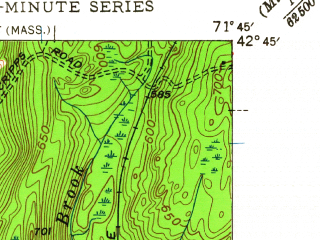 Reduced fragment of topographic map en--usgs--024k--001631--(1950)--N042-45-00_W071-52-30--N042-37-30_W071-45-00