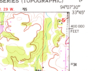 Reduced fragment of topographic map en--usgs--024k--001636--(1950)--N033-45-00_W094-15-00--N033-37-30_W094-07-30; towns and cities Ashdown, Wilton