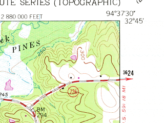 Reduced fragment of topographic map en--usgs--024k--001652--(1962)--N032-45-00_W094-45-00--N032-37-30_W094-37-30