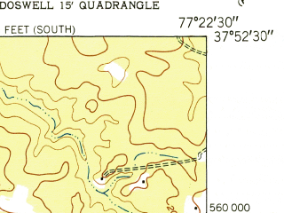 Reduced fragment of topographic map en--usgs--024k--001653--(1951)--N037-52-30_W077-30-00--N037-45-00_W077-22-30; towns and cities Ashland