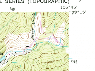 Reduced fragment of topographic map en--usgs--024k--001708--(1960)--N039-15-00_W106-52-30--N039-07-30_W106-45-00; towns and cities Aspen