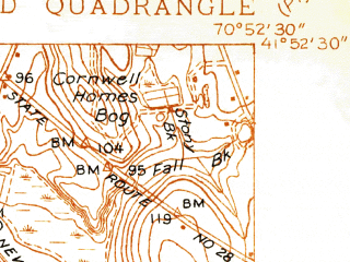 Reduced fragment of topographic map en--usgs--024k--001718--(1937)--N041-52-30_W071-00-00--N041-45-00_W070-52-30 in area of Assawampset Pond, Long Pond, Great Quittacas Pond; towns and cities North Lakeville