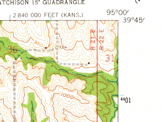 Reduced fragment of topographic map en--usgs--024k--001737--(1959)--N039-45-00_W095-07-30--N039-37-30_W095-00-00