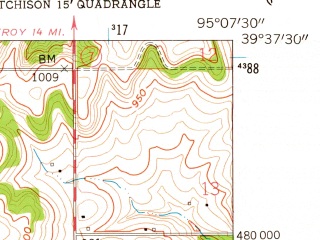 Reduced fragment of topographic map en--usgs--024k--001738--(1959)--N039-37-30_W095-15-00--N039-30-00_W095-07-30; towns and cities Atchison