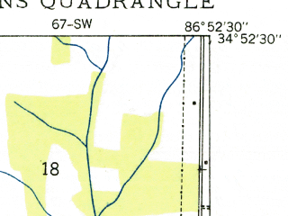 Reduced fragment of topographic map en--usgs--024k--001747--(1935)--N034-52-30_W087-00-00--N034-45-00_W086-52-30; towns and cities Athens