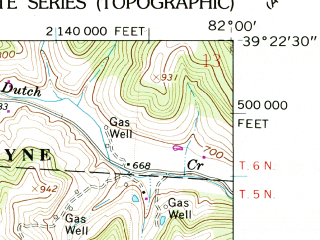Reduced fragment of topographic map en--usgs--024k--001751--(1961)--N039-22-30_W082-07-30--N039-15-00_W082-00-00; towns and cities Athens