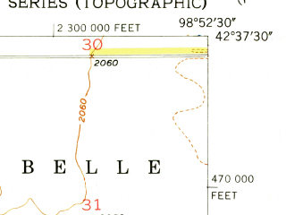 Reduced fragment of topographic map en--usgs--024k--001763--(1954)--N042-37-30_W099-00-00--N042-30-00_W098-52-30; towns and cities Atkinson