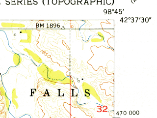 Reduced fragment of topographic map en--usgs--024k--001768--(1954)--N042-37-30_W098-52-30--N042-30-00_W098-45-00