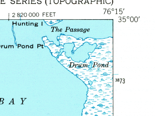 Reduced fragment of topographic map en--usgs--024k--001781--(1949)--N035-00-00_W076-22-30--N034-52-30_W076-15-00