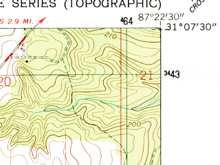Reduced fragment of topographic map en--usgs--024k--001786--(1960)--N031-07-30_W087-30-00--N031-00-00_W087-22-30; towns and cities Atmore