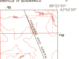 Reduced fragment of topographic map en--usgs--024k--001796--(1961)--N042-52-30_W089-30-00--N042-45-00_W089-22-30